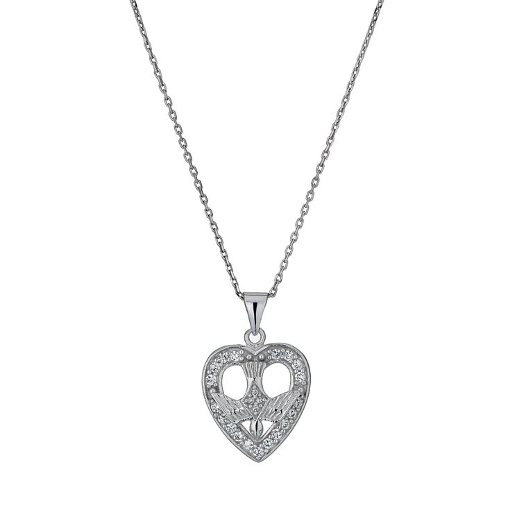 Cailin Sterling Silver & Cubic Zirconia Heart Pendant - Product number 9974717