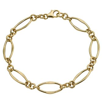 9ct yellow gold open oval link bracelet - Product number 9974873
