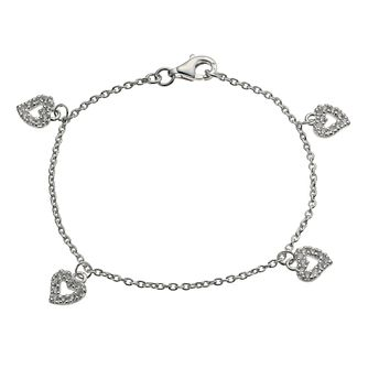 "Children's Sterling Silver 6"" Cubic Zirconia Heart Bracelet - Product number 9986243"