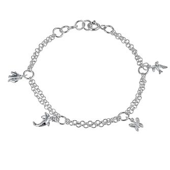 "Children's Sterling Silver 6"" Two Row Charm Bracelet - Product number 9986324"