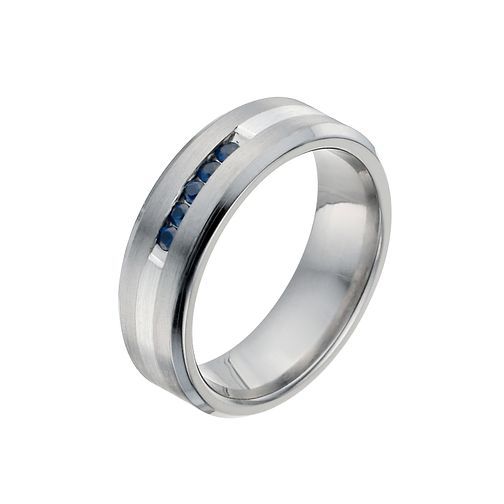 Men's Titanium & Silver Sapphire Ring - Product number 9990453