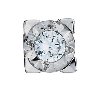 Men's 9ct White Gold 1/10 Carat Diamond Stud Earring - Product number 9994688