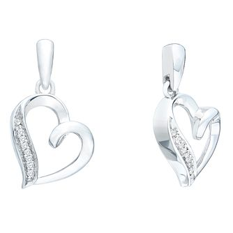 Sterling Silver Diamond Heart Earrings - Product number 9998993