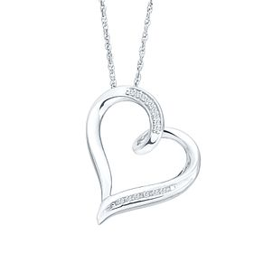 Sterling Silver Diamond Heart Pendant - Product number 9999000