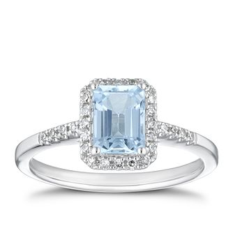 18ct White Gold 1/10ct Diamond & Emerald Cut Aquamarine Ring - Product number 1000055