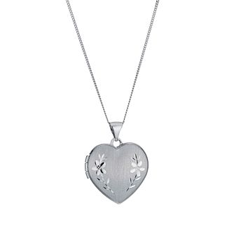 9ct White Gold Matt & Polished Heart Locket - Product number 1000209