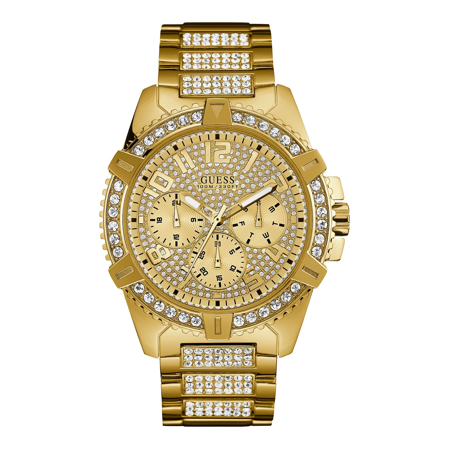Guess Men's Crystal Dial Yellow Gold Tone Bracelet Watch - Product number 1000772