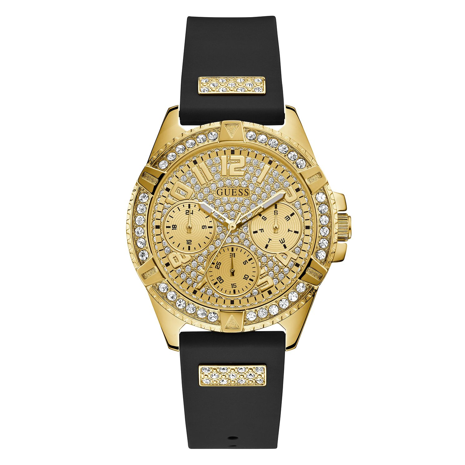 Guess Ladies' Crystal Dial Black Silicone Strap Watch - Product number 1000799