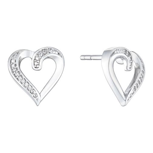 Silver Diamond Heart Stud Earrings - Product number 1001043