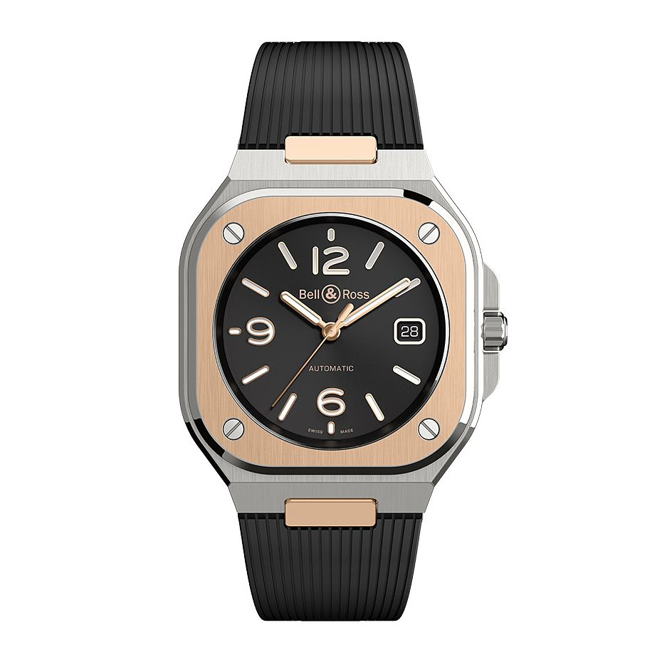 Bell & Ross BR05 Rose Gold and Black Rubber Strap Watch - Product number 1001795