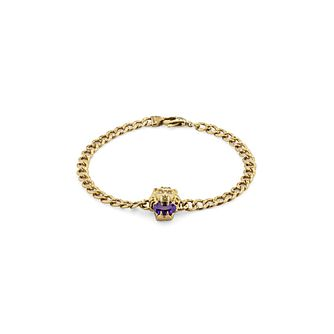 Gucci Lion Head 18ct Yellow Gold Diamond & Amethyst Bracelet - Product number 1003305