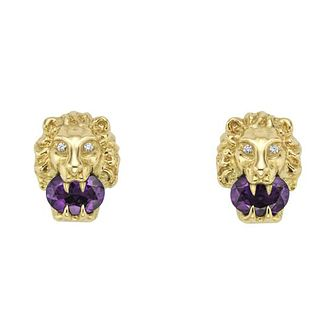 Gucci Lion Head 18ct Gold Diamond & Amethyst Stud Earrings - Product number 1004190