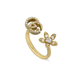 Gucci Flora Ladies' 18ct Yellow Gold & Diamond Ring - Product number 1004204