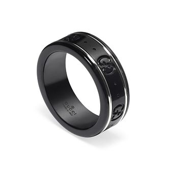 Gucci Icon Ladies' 18ct White Gold & Black Ring - Product number 1004220