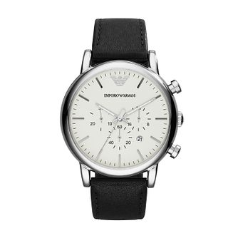Emporio Armani Chronograph Men's Black Leather Strap Watch - Product number 1004255