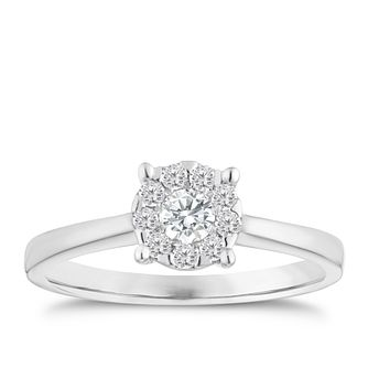 9ct white gold 1/4ct solitaire cluster ring - Product number 1004301