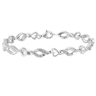 Silver 1/10ct Diamond Heart Bracelet - Product number 1004638