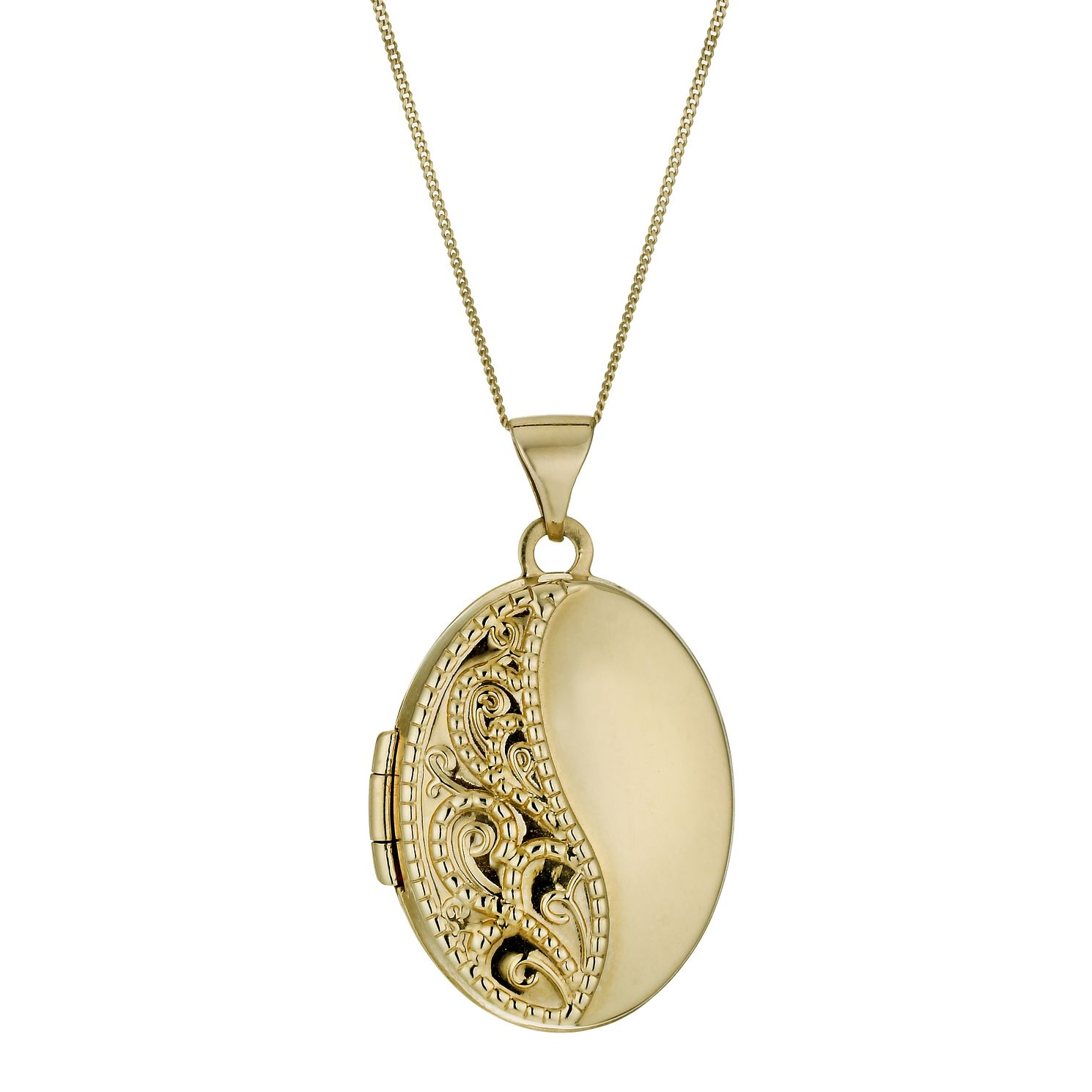 9ct Yellow Gold 18 inches Engraved Oval Locket - Product number 1005251