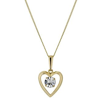"9ct Yellow Gold 16"" Heart Cubic Zirconia Pendant - Product number 1005316"