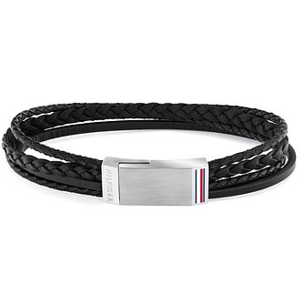 Tommy Hilfiger Men's Steel Plaque & Black Leather Bracelet - Product number 1007149