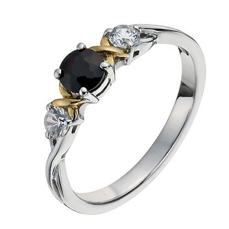 Sterling Silver & 9ct Gold Black Sapphire Three Stone Ring - Product number 1008234