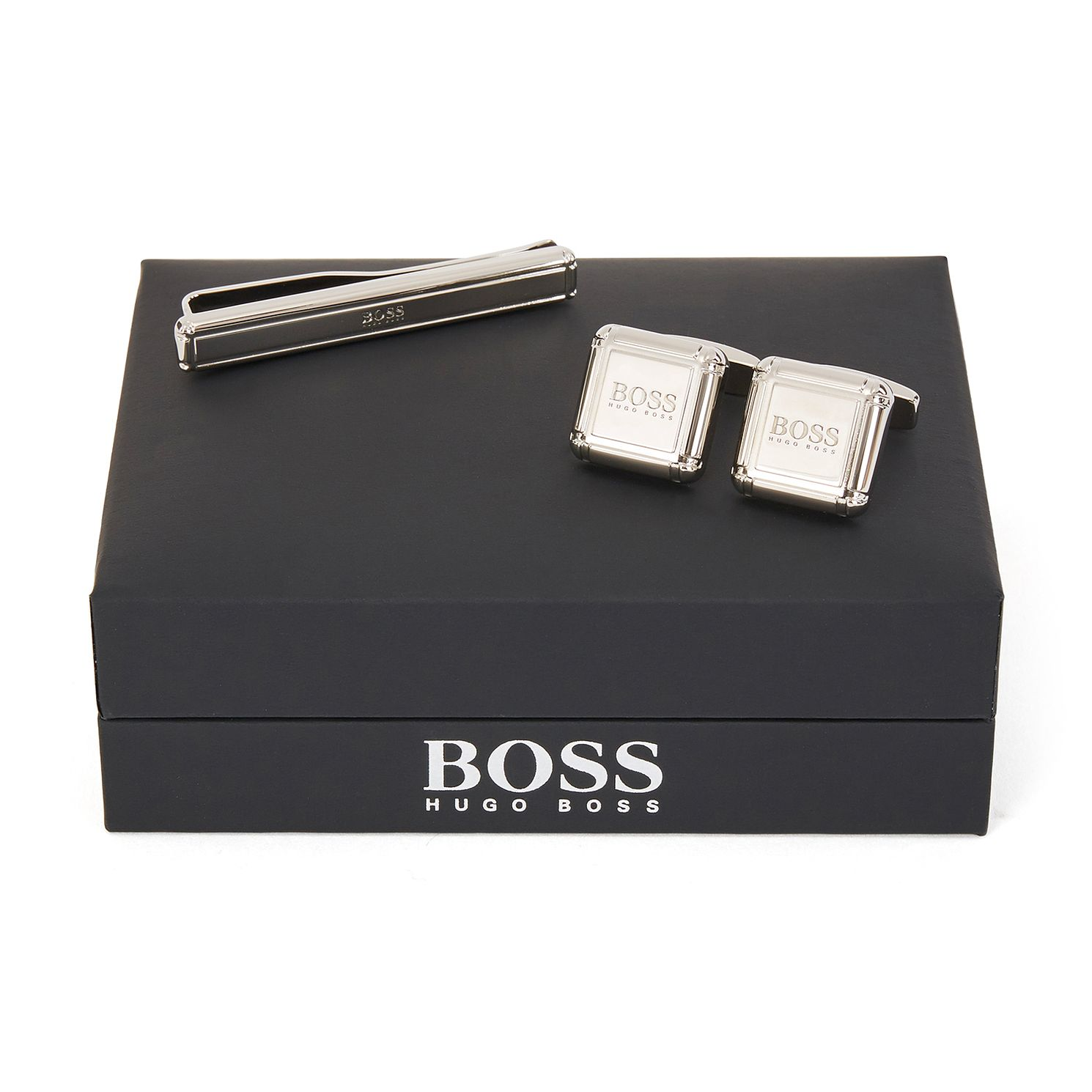 BOSS River Men's Silver Tone Tie Clip & Cufflinks Gift Set - Product number 1008706