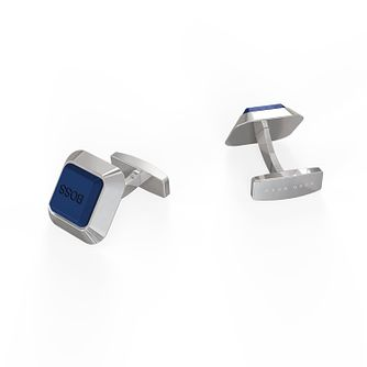 BOSS Melvin Men's Blue Enamel Square Cufflinks - Product number 1008749