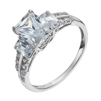 9ct White Gold Cubic Zirconia Three Stone Ring - Product number 1009087