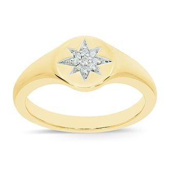 Wonder Woman 9ct Yellow Gold Diamond Star Signet Ring - Product number 1009257