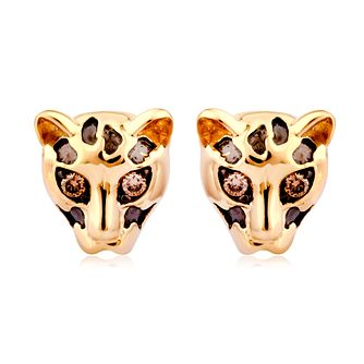 Wonder Woman 9ct Yellow Gold Diamond Cheetah Stud Earrings - Product number 1009699