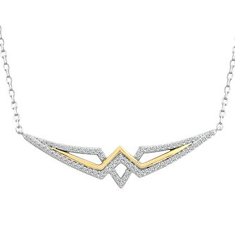 Wonder Woman Silver & 9ct Yellow Gold 0.23ct Diamond Pendant - Product number 1009702