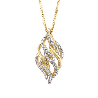 Wonder Woman 9ct Yellow Gold 0.18ct Diamond Flame Pendant - Product number 1009737