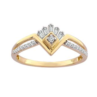 Wonder Woman 9ct Yellow Gold 0.18ct Diamond Mix Cut Ring - Product number 1009915