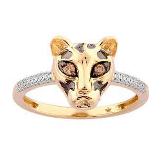 Wonder Woman 9ct Yellow Gold Champagne Diamond Cheetah Ring - Product number 1010182