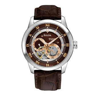 Bulova Men's Classic Automatic Brown Leather Strap Watch - Product number 1012983