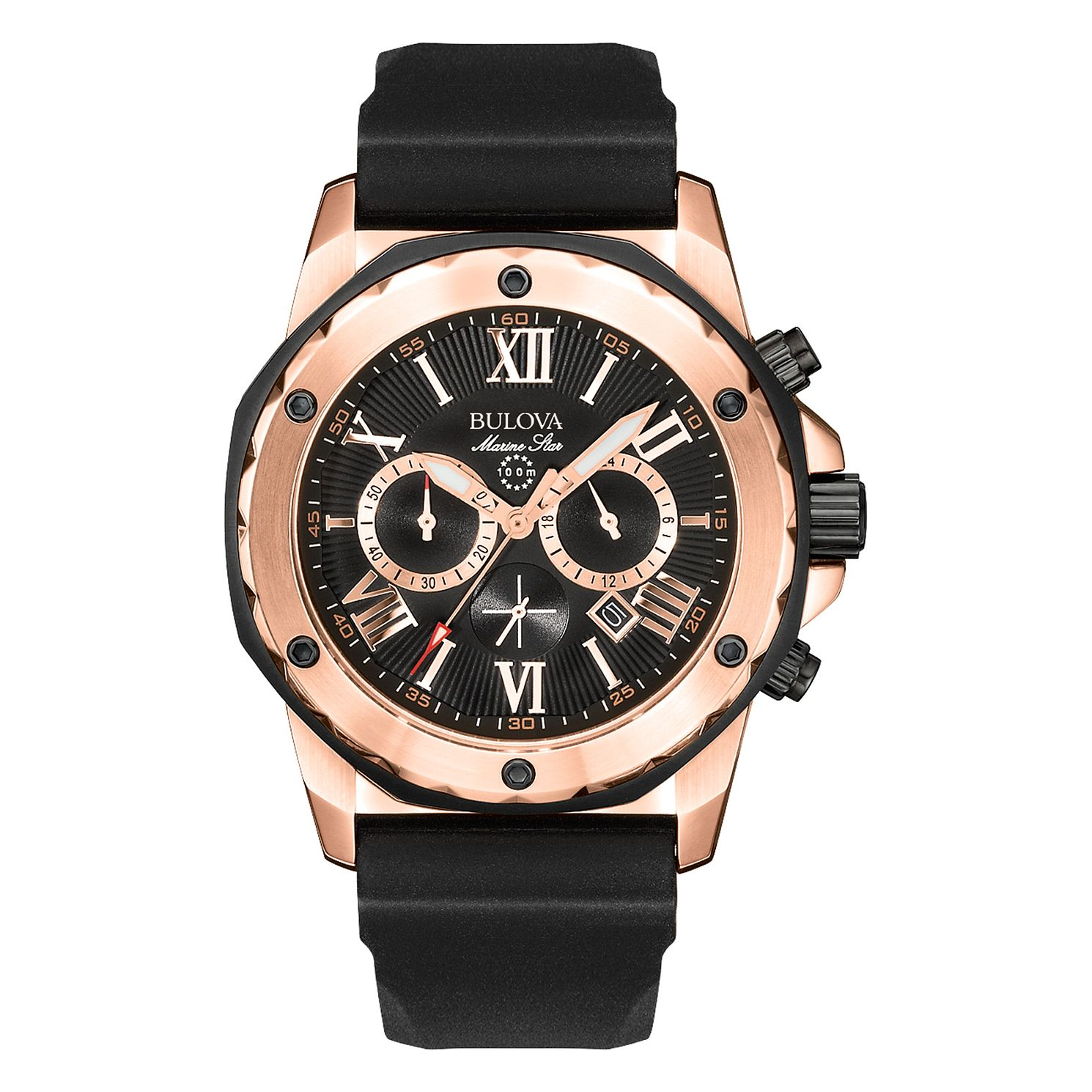 Bulova Men's Marine Star Rose Gold Plated Black Strap Watch - Product number 1013076