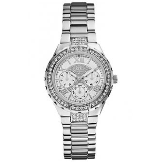 Guess Ladies' Crystal Silver Tone Bracelet Watch - Product number 1015176