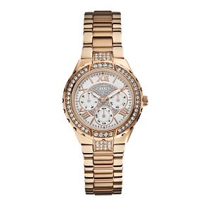 Guess Ladies' Crystal Set Rose Gold-Plated Bracelet Watch - Product number 1015249