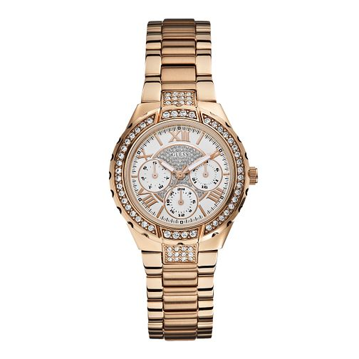 Guess Ladies' Crystal Rose Gold Plated Bracelet Watch - Product number 1015249