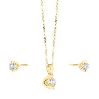 9ct Yellow Gold 1/2ct Diamond Earring & Pendant Set - Product number 1015346