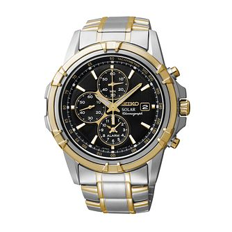 Seiko Solar Men's Two Tone Bracelet Watch - Product number 1015729
