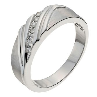 Sterling Silver Men's Diagonal 0.10ct Diamond Ring - Product number 1016296