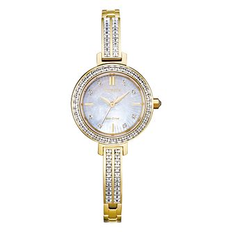 Citizen Silhouette Crystal Yellow Gold Tone Bracelet Watch - Product number 1016741