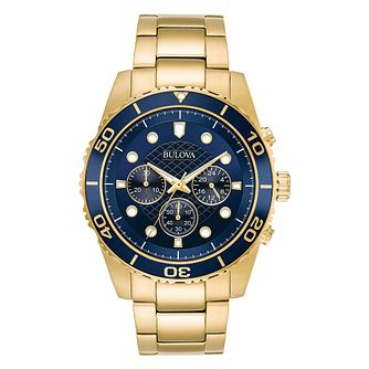 Bulova Chronograph Yellow Gold Tone Bracelet Watch - Product number 1017403