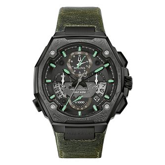 Bulova Precisionist Men's Green Leather Strap Watch - Product number 1017438