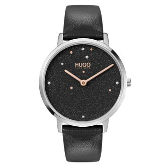 HUGO #DREAM Ladies' Black Leather Strap Watch - Product number 1017934