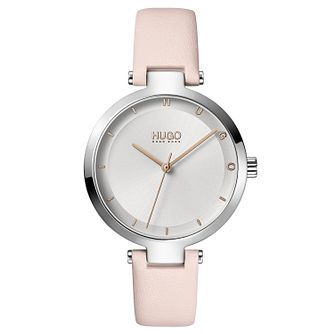 HUGO #HOPE Ladies' Light Pink Leather Strap Watch - Product number 1017942