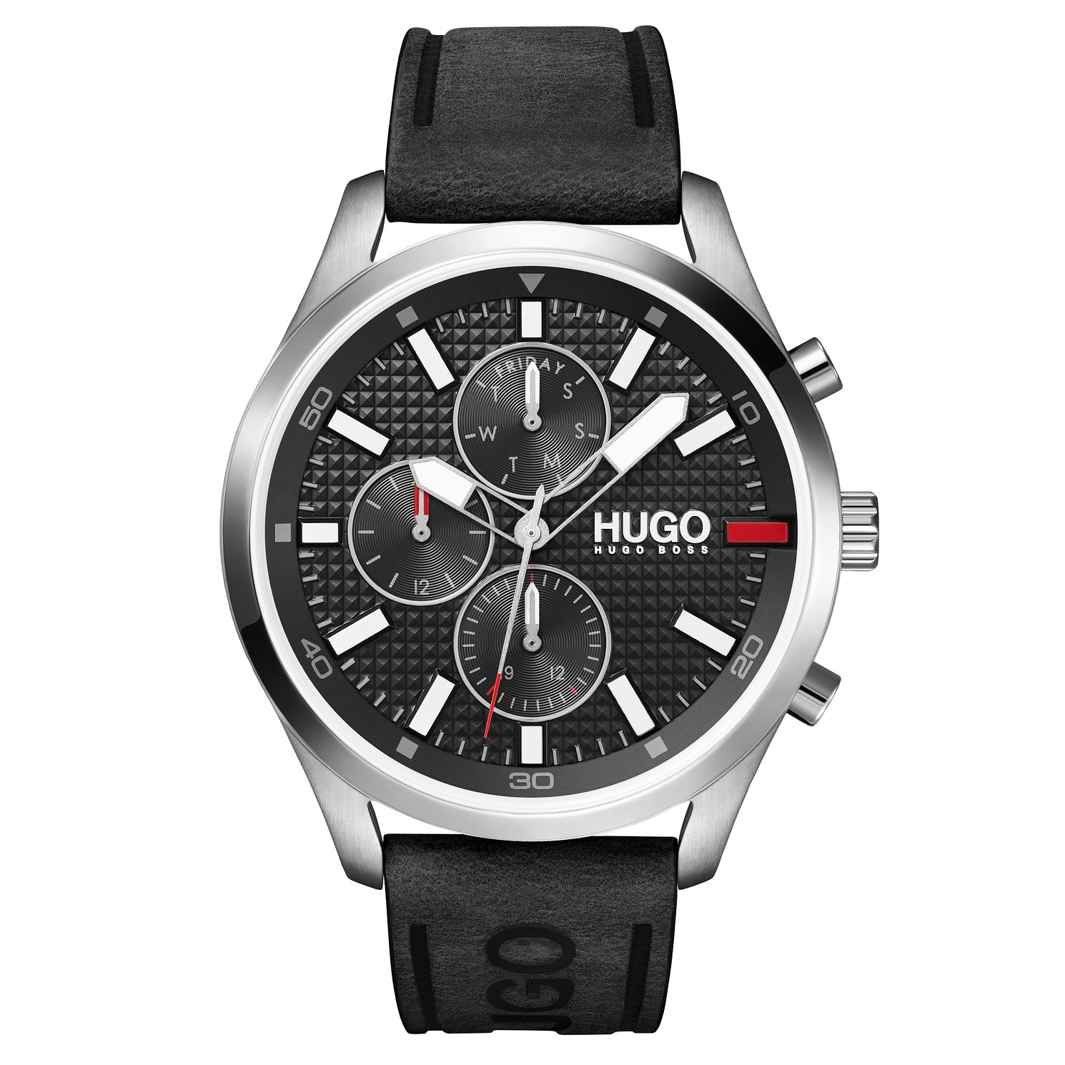 HUGO #CHASE Men's Black Leather Strap Watch - Product number 1017993