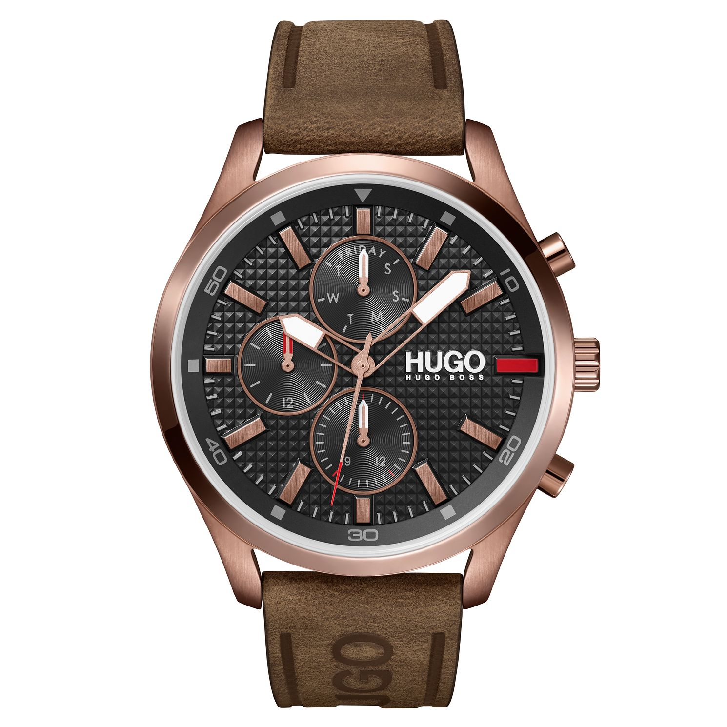 HUGO #CHASE Men's Brown Leather Strap Watch - Product number 1018000