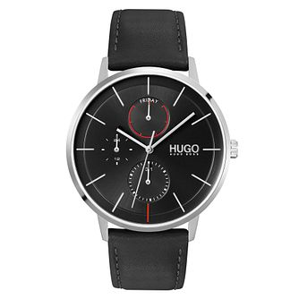 HUGO #EXIST Men's Black Leather Strap Watch - Product number 1018027